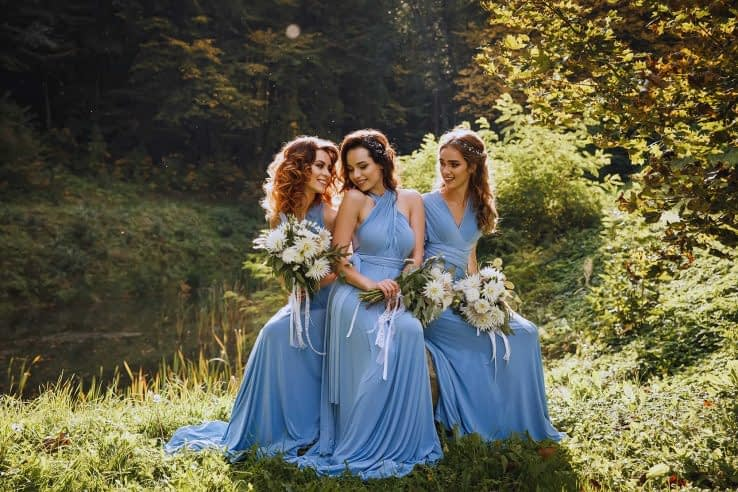Bridesmaids at the park during a wedding day