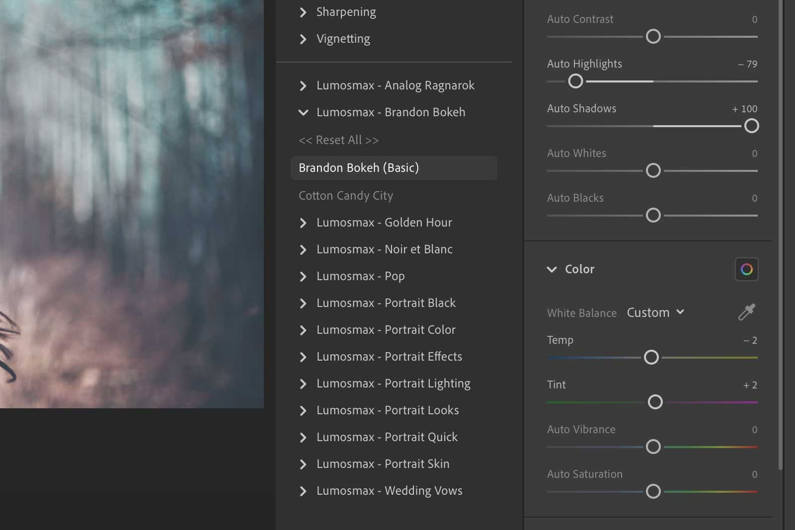 Lumosmax presets on Lightroom CC for Desktop