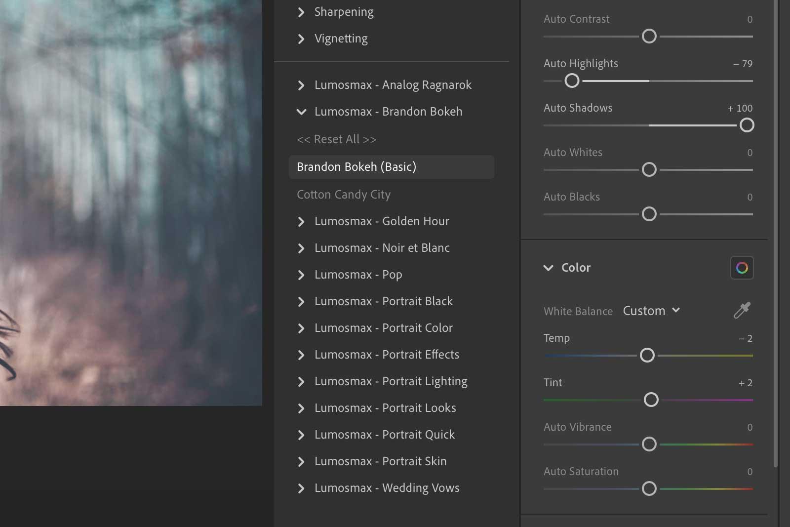Lumosmax presets on Lightroom CC for Desktop
