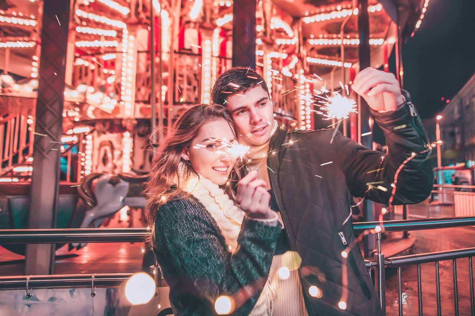 Beautiful Couples at Theme Park (After Presets Applied)