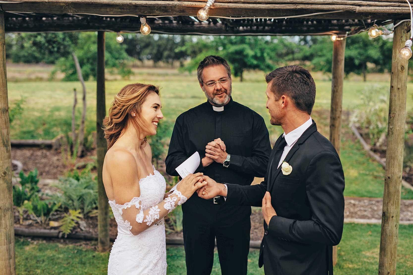 Young Couple reading wedding vows original photo