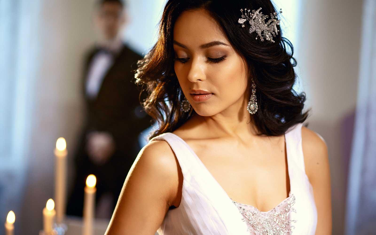 Elegant Bride with White Dress (Before applying the preset)