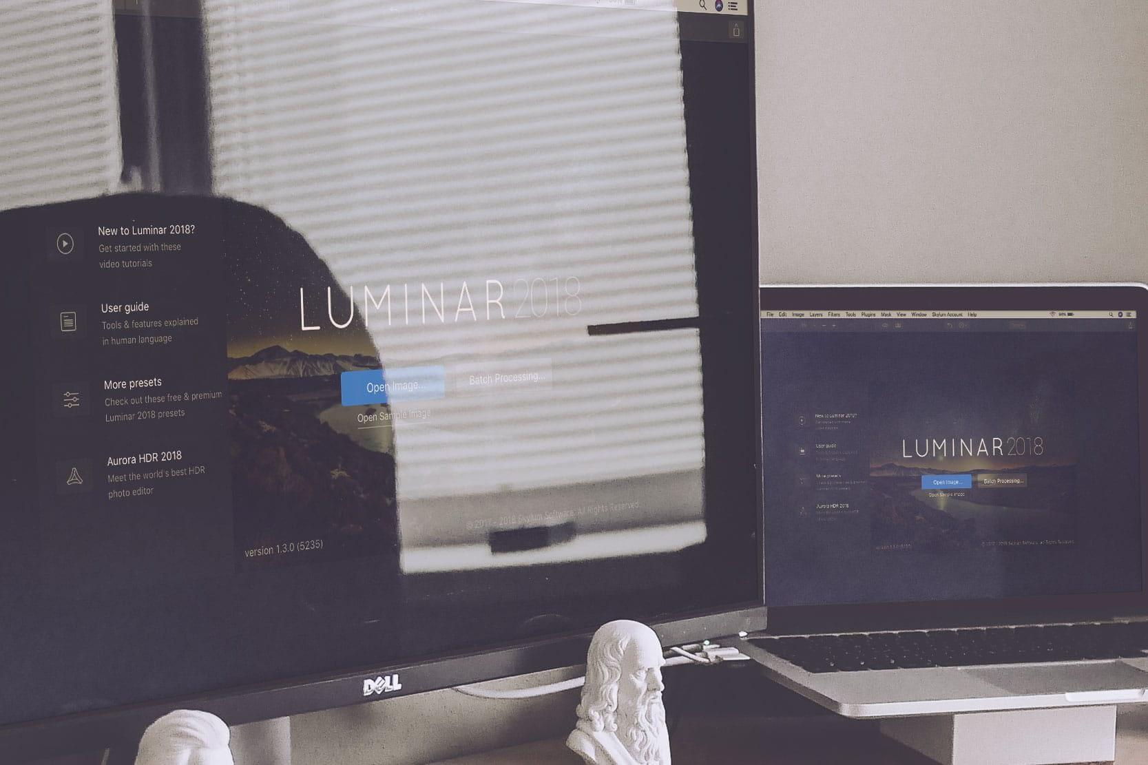 A mockup of Luminar photo editor on Desktop and Laptop